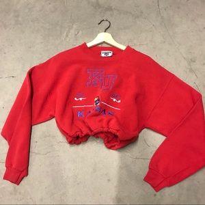 Kansas Jayhawks drawstring crop sweatshirt